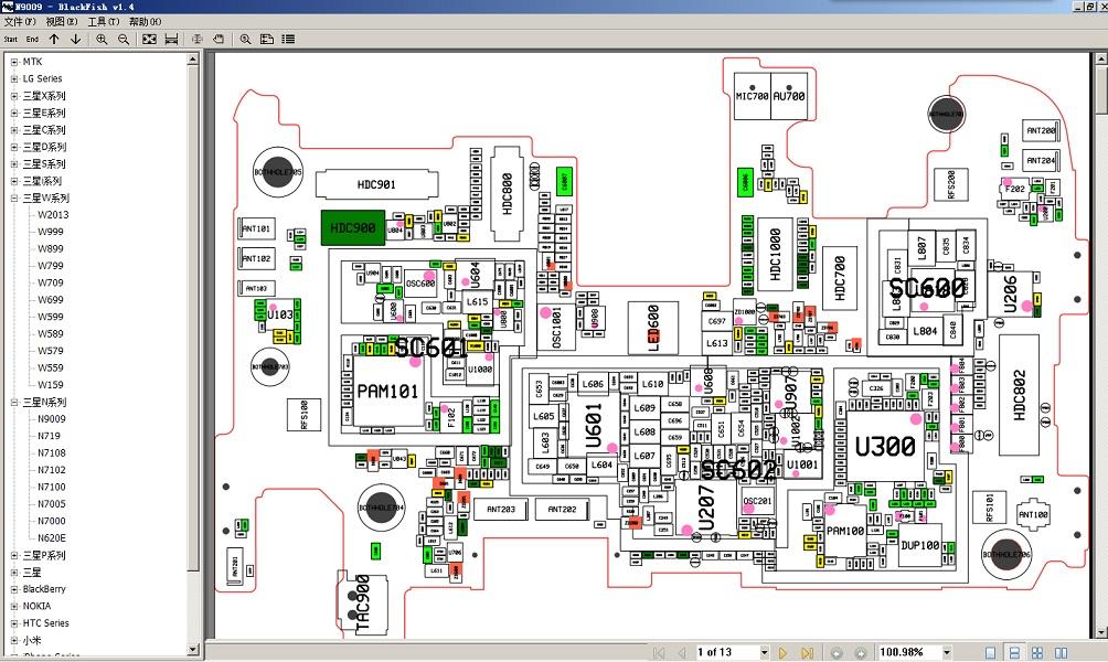 BlackFish软件samsung n9009原理图